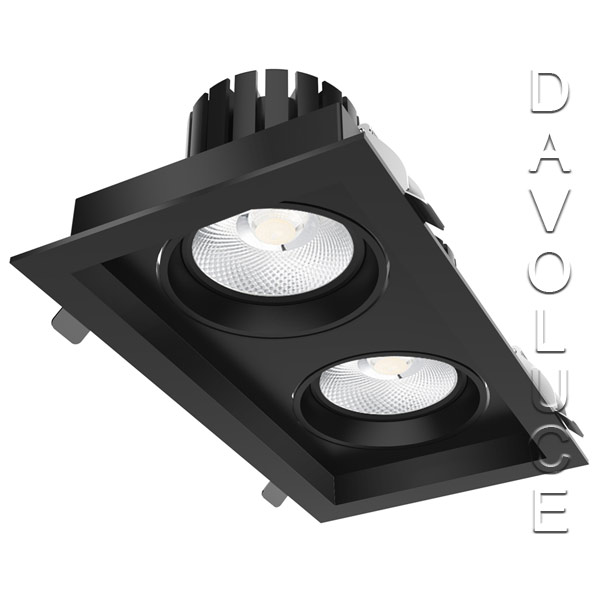 Lightel A21-512/56W Double Rectangular 2 x 28W LED Adjustable Commercial DL