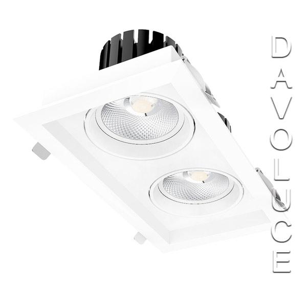 Lightel A21-512/76W Double Rectangular 2 x 38W LED Adjustable Commercial DL