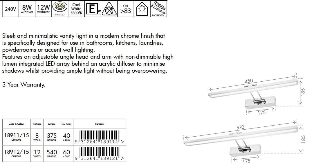 Moen Dn0763ch Iso 3 Globe Bath Light Chrome: ERROL LED Vanity Wall Light Davoluce, Melbourne, Sydney