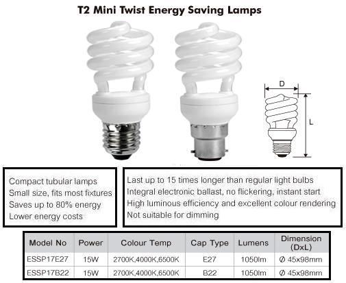 Buy Online Essp17 27e27 15w T2 Mini Spiral Compact Fluoro
