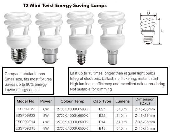 Buy Online Essp09 273e7 8w T2 Mini Spiral Compact Fluoro