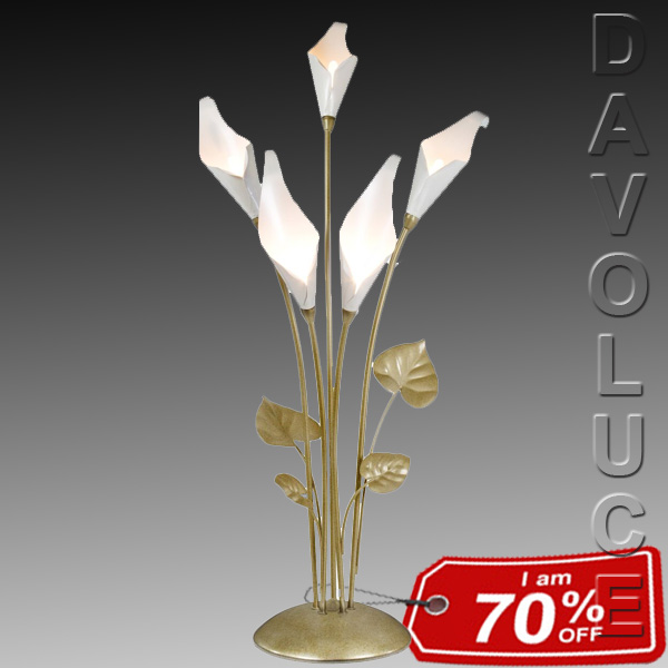Calla Lily 5 Light Champagne Table Lamp Orchid Lighting