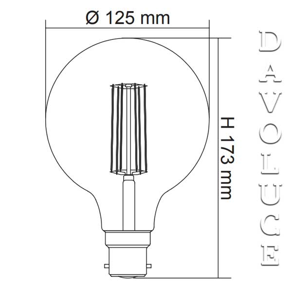 Sal Led Filament Spherical Lamp 125mm 8w Led Dimmable