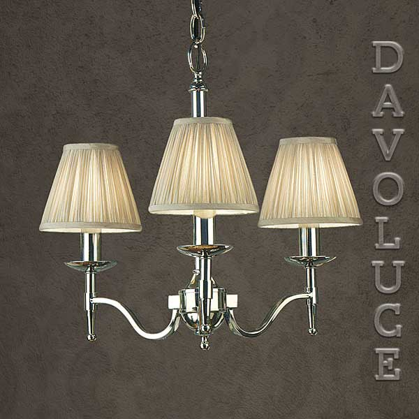 Stanford 3 Light Chandelier Nickel By Viore Disign Designer Paul Mulhearn Wall Lights