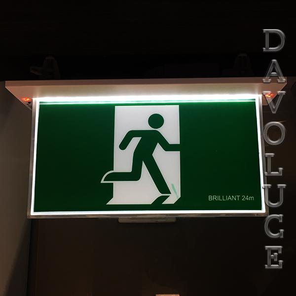 Brilliant Lighting Blade Led Exit Sign With Emergency Downlight Davoluce Lighting